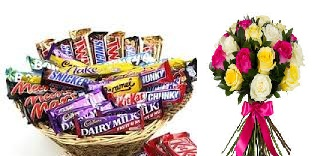 Cadburys mixed chocolates in a basket with 18 roses bunch