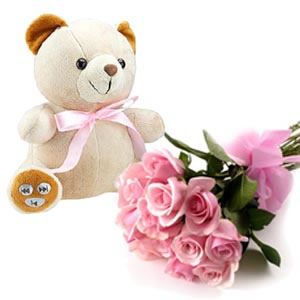 Teddy and 30 pink roses hand bouquet