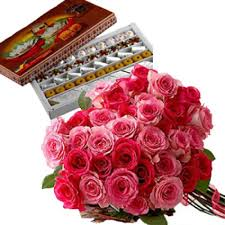 1 kg mithai with 20 roses bunch
