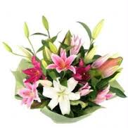 Pink white lily arrangement