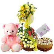 Lilies roses and gerberas 2 tier basket with cake and teddy