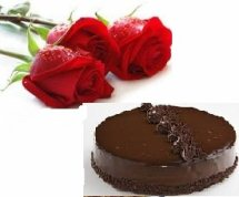 1 kg Chocolate cake with 2 roses free