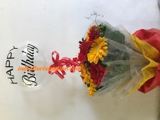 Happy Birthday printed transparent balloon 10 Gerberas in a bouquet