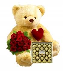 2 feet teddy bear with 12 roses 24 pc ferrero