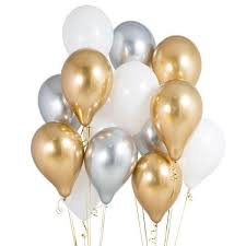 10 Gas filled gold and silver Balloons tied to ribbons