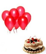 6 Red Balloons With 1 2 Kg Black Forest Cake