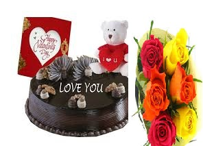 1/2 kg chocolate cake icing i love you with teddy card and 6 mix roses