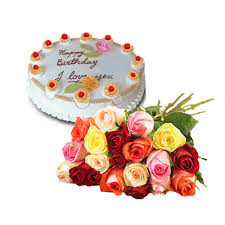 2 kg eggless butterscotch cake with 8 mix roses