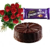 1 Dairy Milk 12 Mix Roses 1/2 Kg Chocolate Cake