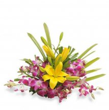 Basket of 4 Purple Orchids and 1 Yellow Lily
