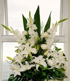 2 Feet arrangement of White Lily White roses and and white Gladioli