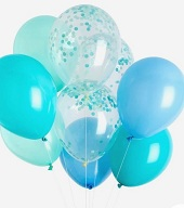 10 Gas filled blue green confetti Balloons tied to ribbons