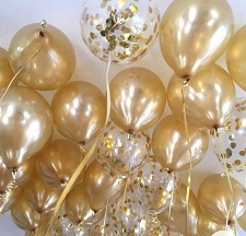 25 Gas filled gold confetti Balloons tied to ribbons