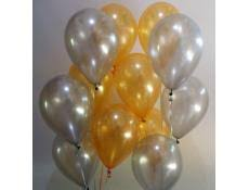 20 Gas filled black gold and silver Balloons tied to ribbons