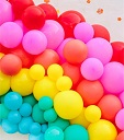 100 red pink purple green orange small and large balloons