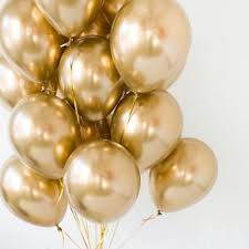 15 Gas filled gold Balloons tied to ribbons