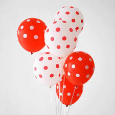 10 Gas filled red and white polka dot helium Balloons tied to ribbons