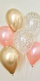 10 Gas filled rose gold confetti Balloons tied to ribbons