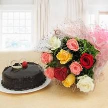 12 mix roses and 1/2 kg cake