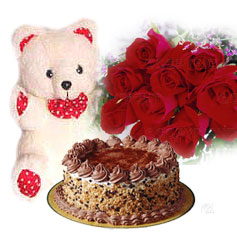 1 pound kg Cake with 12 red roses and teddy