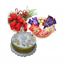Chocolate basket 6 Mix Roses 1/2 Kg Pineapple Cake