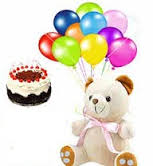 6 inch teddy with 12 air balloons 1/2 kg black forest cake