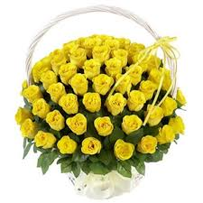 50 yellow roses in a basket