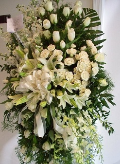 White Lilies White Roses 3 Feet Arrangement