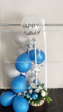 Blue silver balloons arrangement with roses and happy birthday (air filled not gas not foil) balloon