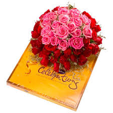 12 red roses posy , celebration Cadbury