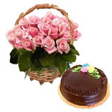 Chocolate cake with 12 pink roses bouquet .
