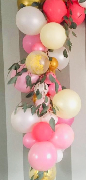 30 red pink small and large balloons with leaves and flowers
