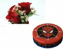 Spiderman cake 2 kg with 4 roses