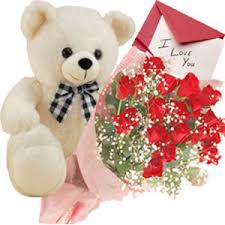 Teddy Bear 2 feet with 8 mix roses hand tied