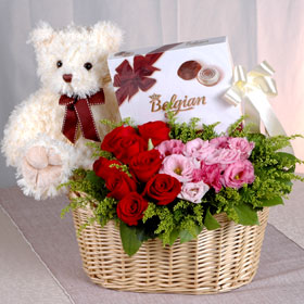 Chocolates +Roses flowers basket+Teddy