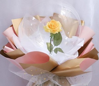 1 Balloons with 1 yellow rose inside transparent balloon with white Wrapping