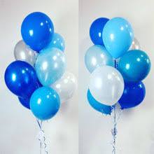 10 Gas filled blue white Balloons tied to ribbons