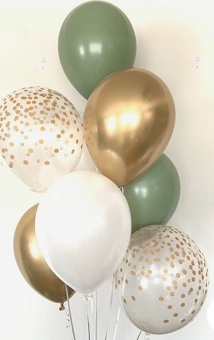 10 Helium Gas filled gold green confetti white Balloons tied to ribbons